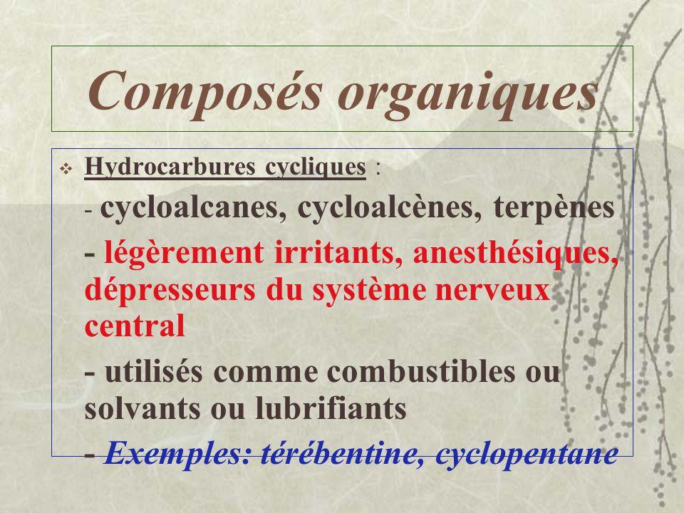 Composés organiques Hydrocarbures aliphatiques insaturés : –Alcènes ou alcynes –Toxicité modérée, anesthésique –Utilisée dans lindustrie pétrolière et