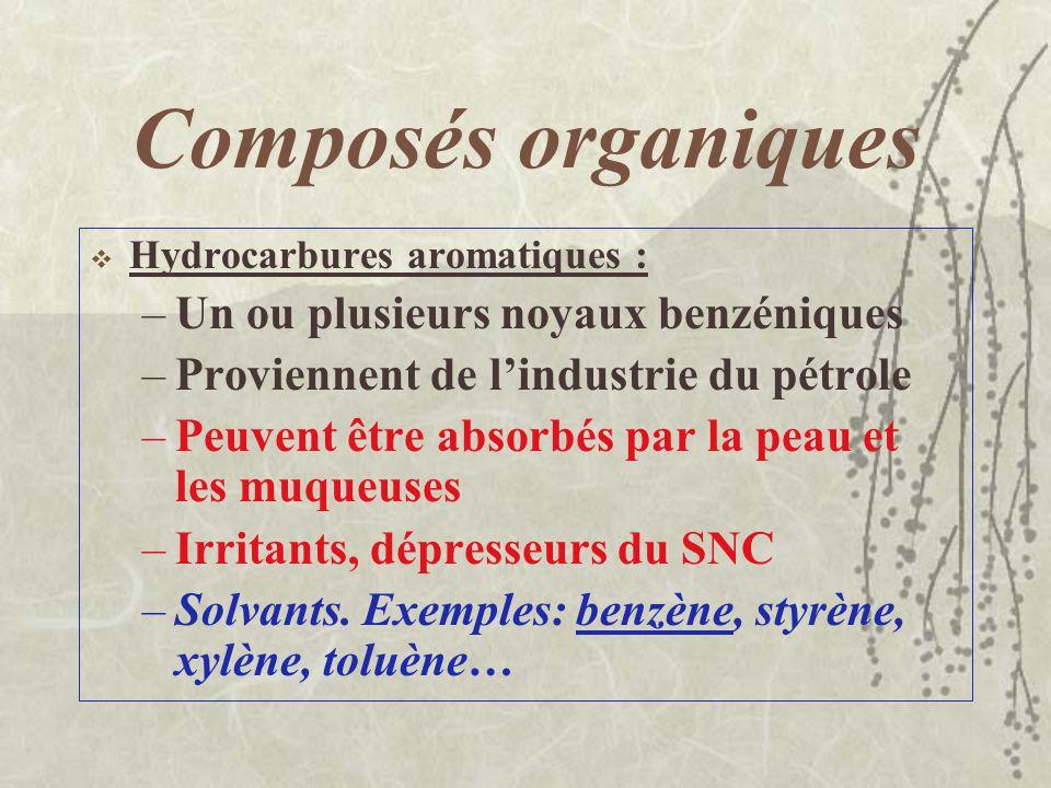 Composés organiques Hydrocarbures cycliques : - cycloalcanes, cycloalcènes, terpènes - légèrement irritants, anesthésiques, dépresseurs du système ner