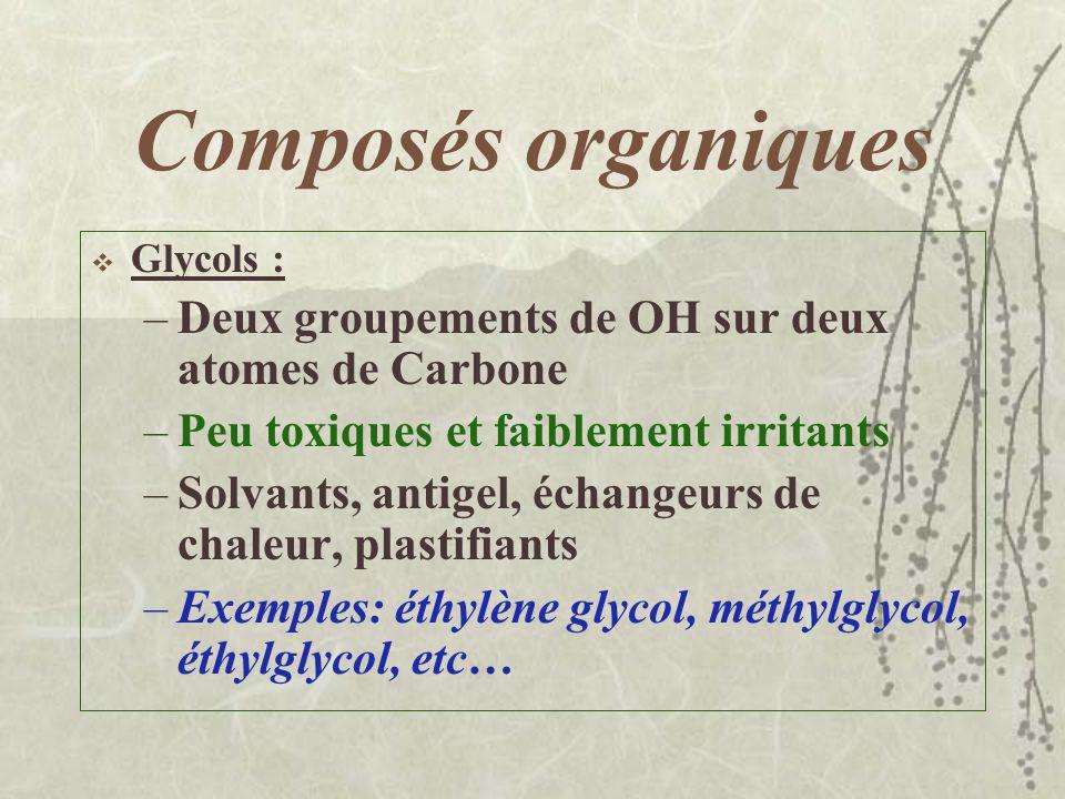 Composés organiques Alcools et glycols : –Alcools ( Racine – OH) –Irritants et dépresseurs du SNC –Volatils et inflammables –Solvants, décapants, nett
