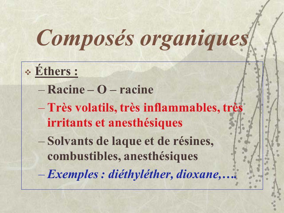Composés organiques Glycols : –Deux groupements de OH sur deux atomes de Carbone –Peu toxiques et faiblement irritants –Solvants, antigel, échangeurs