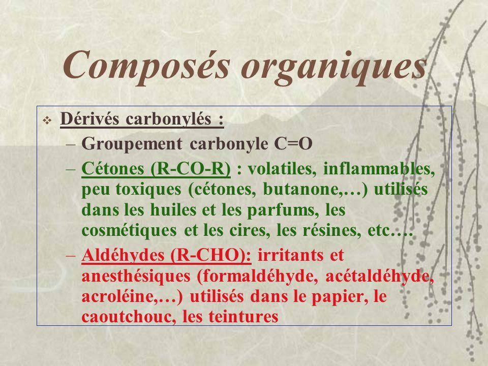 Composés organiques Éthers : –Racine – O – racine –Très volatils, très inflammables, très irritants et anesthésiques –Solvants de laque et de résines,
