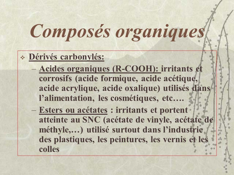 Composés organiques Dérivés carbonylés : –Groupement carbonyle C=O –Cétones (R-CO-R) : volatiles, inflammables, peu toxiques (cétones, butanone,…) uti