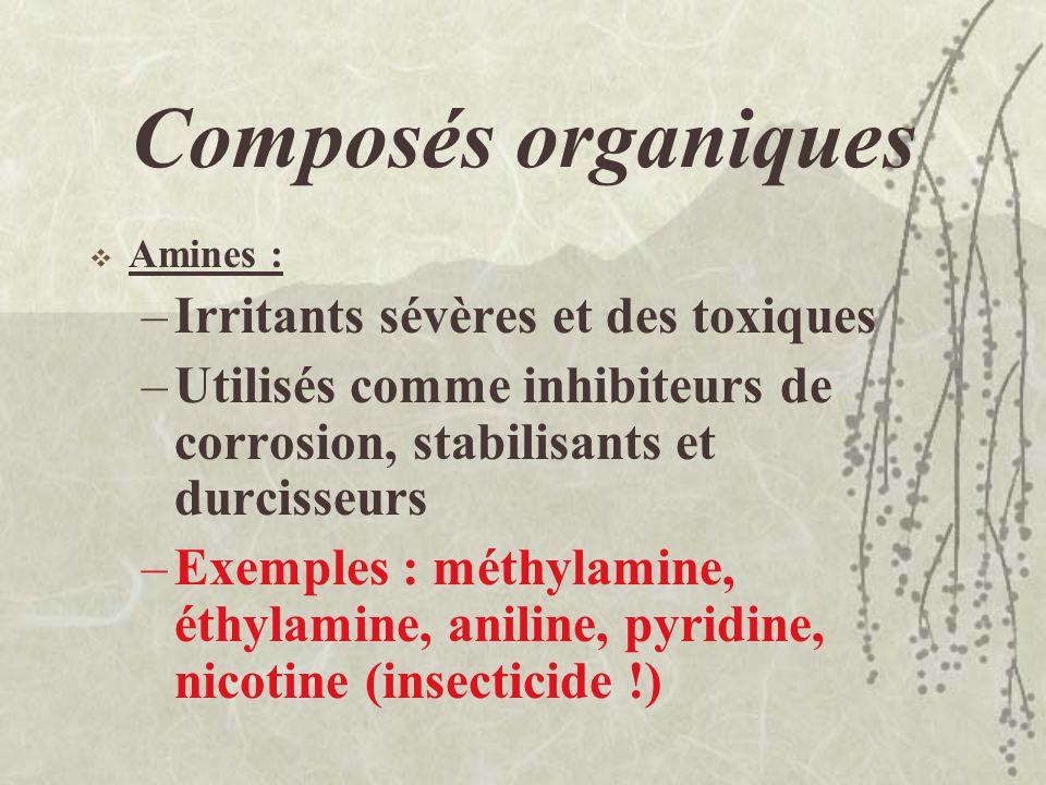 Composés organiques Dérivés carbonylés: –Acides organiques (R-COOH): irritants et corrosifs (acide formique, acide acétique, acide acrylique, acide ox