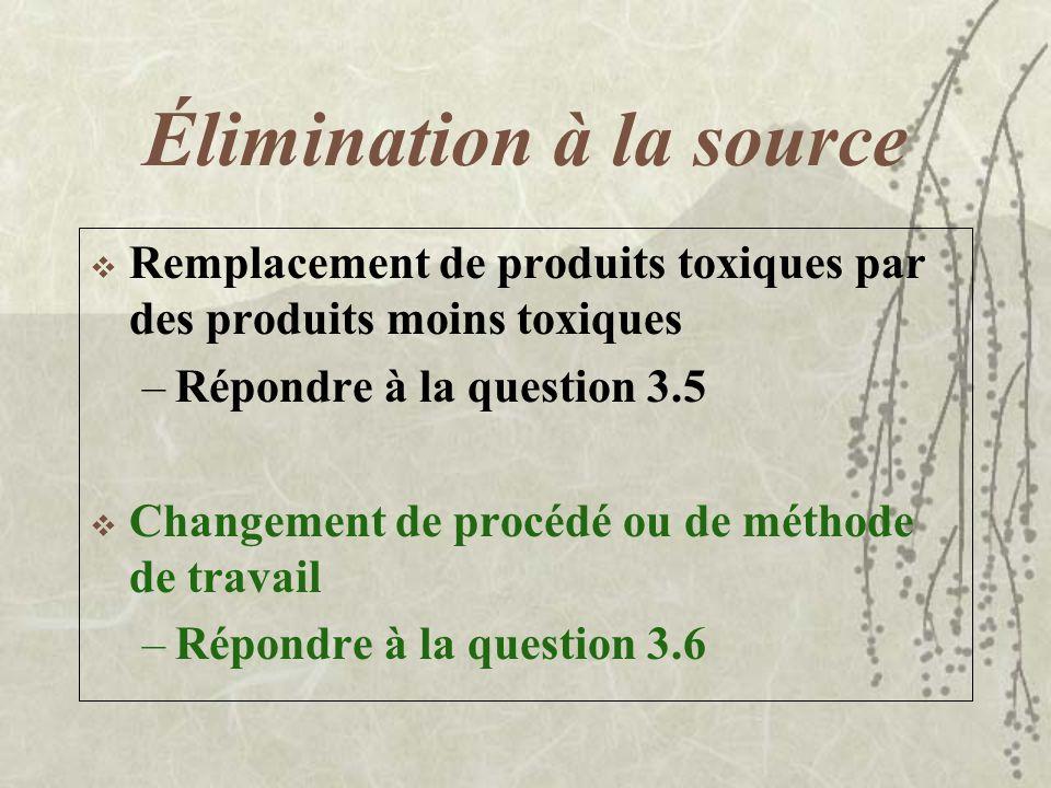 Mesures de prévention Trois (3) grands principes de prévention : –Éliminer à la source (source) –Isoler la source ou les travailleurs (barrière) –Prot