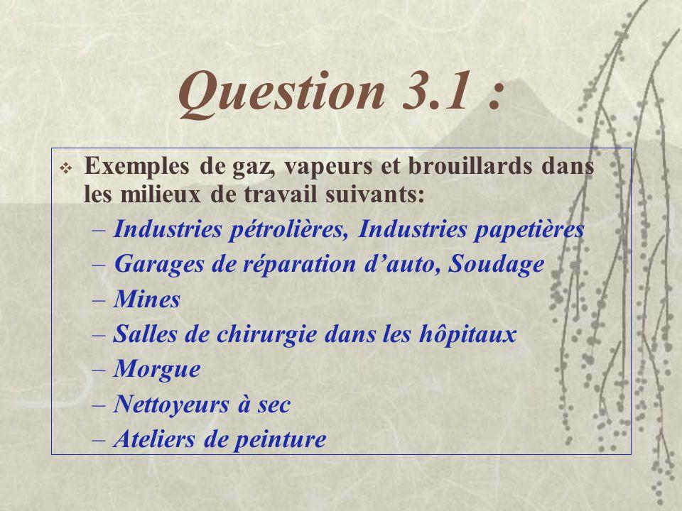 Question 3.1 : Exemples de gaz, vapeurs et brouillards dans les milieux de travail suivants: –Industries pétrolières, Industries papetières –Garages de réparation dauto, Soudage –Mines –Salles de chirurgie dans les hôpitaux –Morgue –Nettoyeurs à sec –Ateliers de peinture