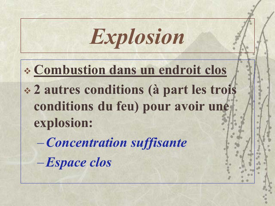 Explosion Combustion dans un endroit clos 2 autres conditions (à part les trois conditions du feu) pour avoir une explosion: –Concentration suffisante –Espace clos