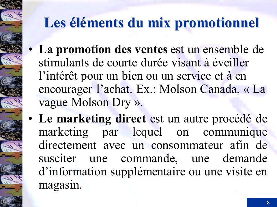 8 Les éléments du mix promotionnel La promotion des ventes est un ensemble de stimulants de courte durée visant à éveiller lintérêt pour un bien ou un service et à en encourager lachat.
