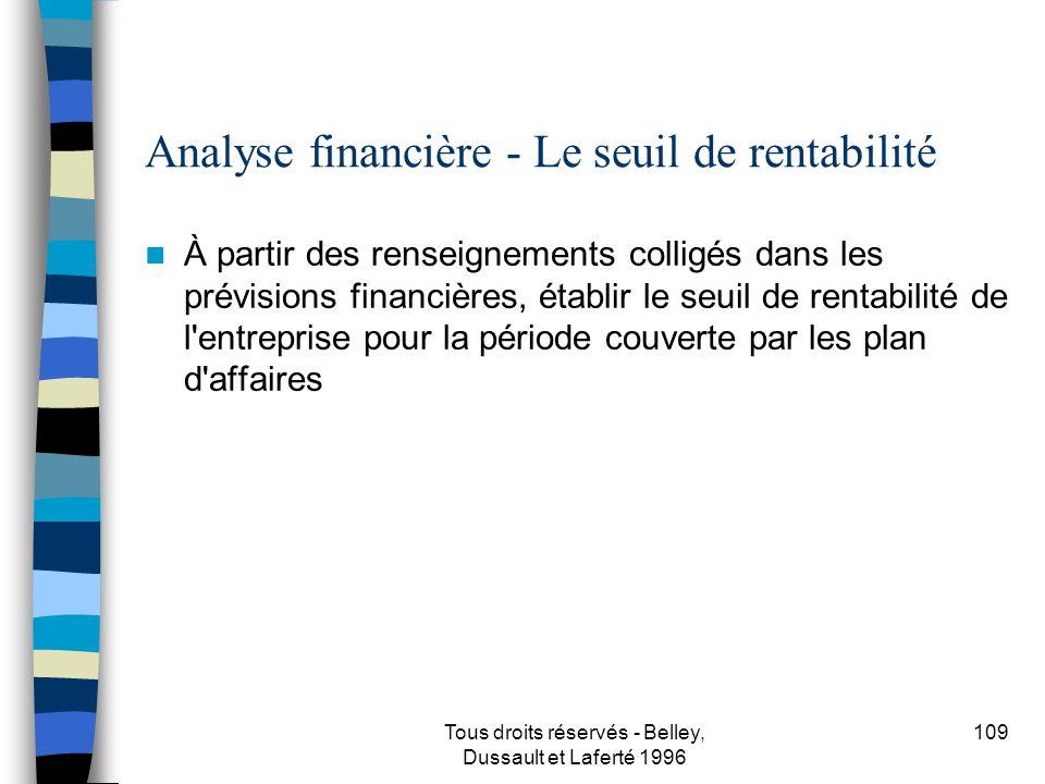 Tous droits réservés - Belley, Dussault et Laferté 1996 110 Analyse financière - Les ratios financiers À partir des renseignements colligés dans les prévisions financières, établir les ratios financiers et comparer avec le secteur d activité s il y a lieu.