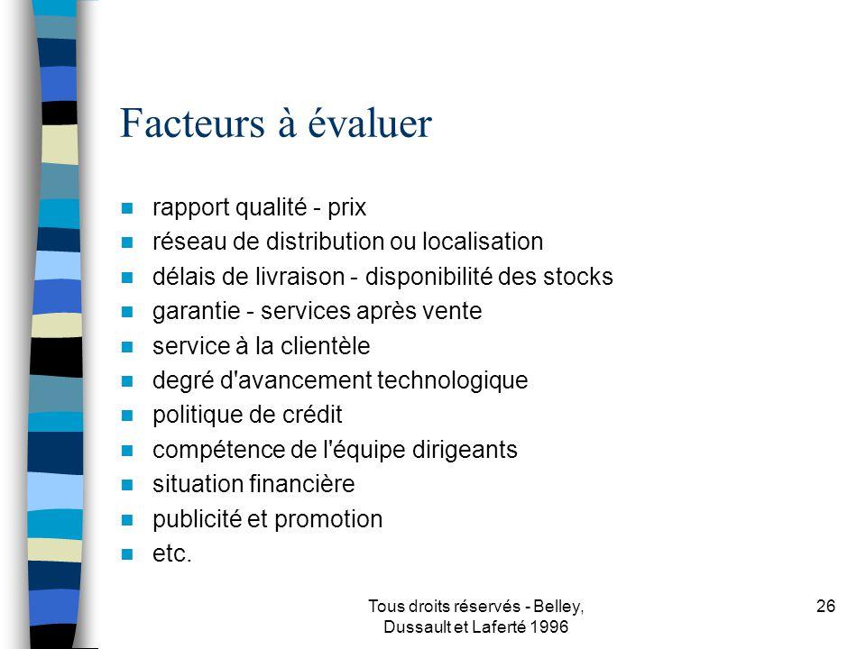 Tous droits réservés - Belley, Dussault et Laferté 1996 27 Prendre des décisions sur...