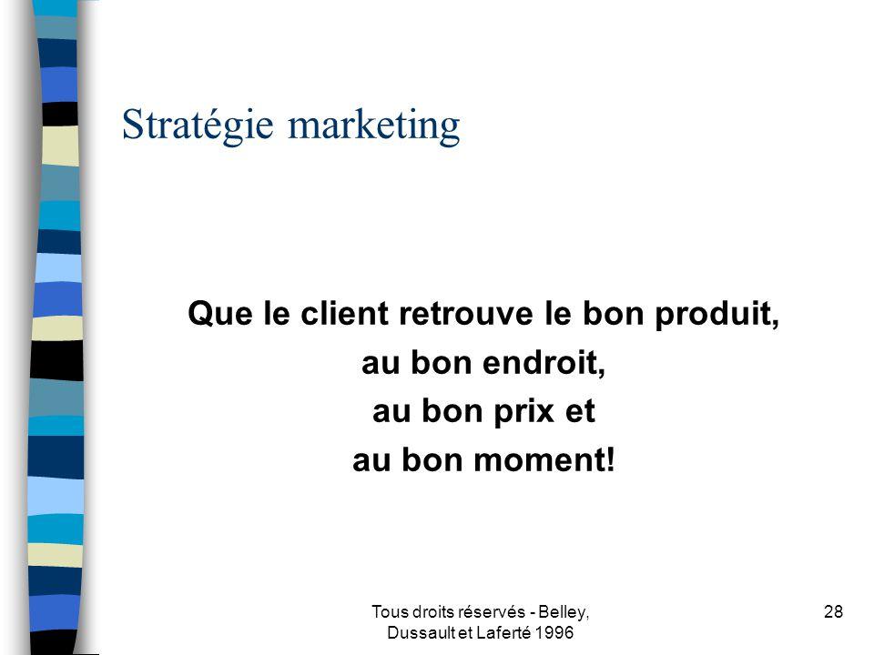 Tous droits réservés - Belley, Dussault et Laferté 1996 29 Clients - consommateurs À qui allons-nous vendre le produit ou le service.