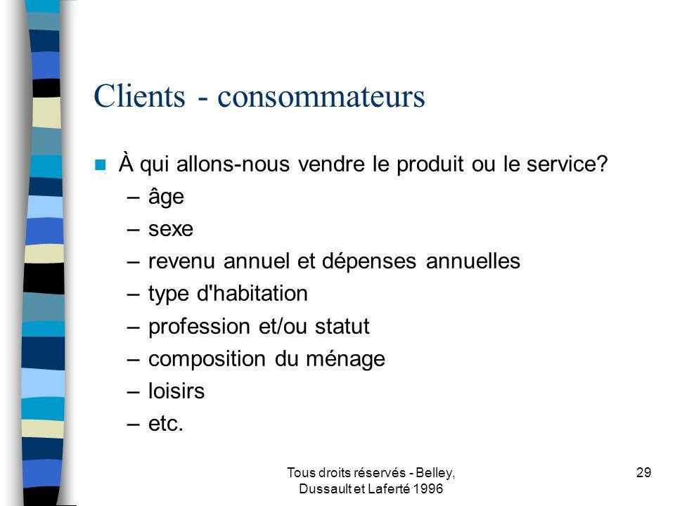 Tous droits réservés - Belley, Dussault et Laferté 1996 30 Clients - entreprises À qui allons-nous vendre le produit ou le service.