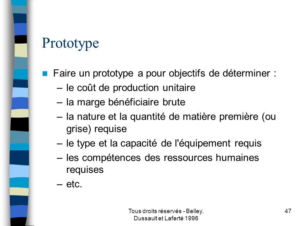 Tous droits réservés - Belley, Dussault et Laferté 1996 48 Faire un prototype Recherche et développement (source et coût) Besoin en sous-traitance (source et coût) Crayon, calculatrice, chronomètre