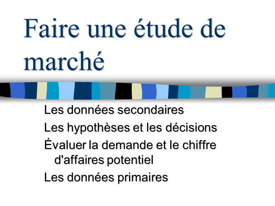 Tous droits réservés - Belley, Dussault et Laferté 1996 8 Pourquoi faire une étude de marché.