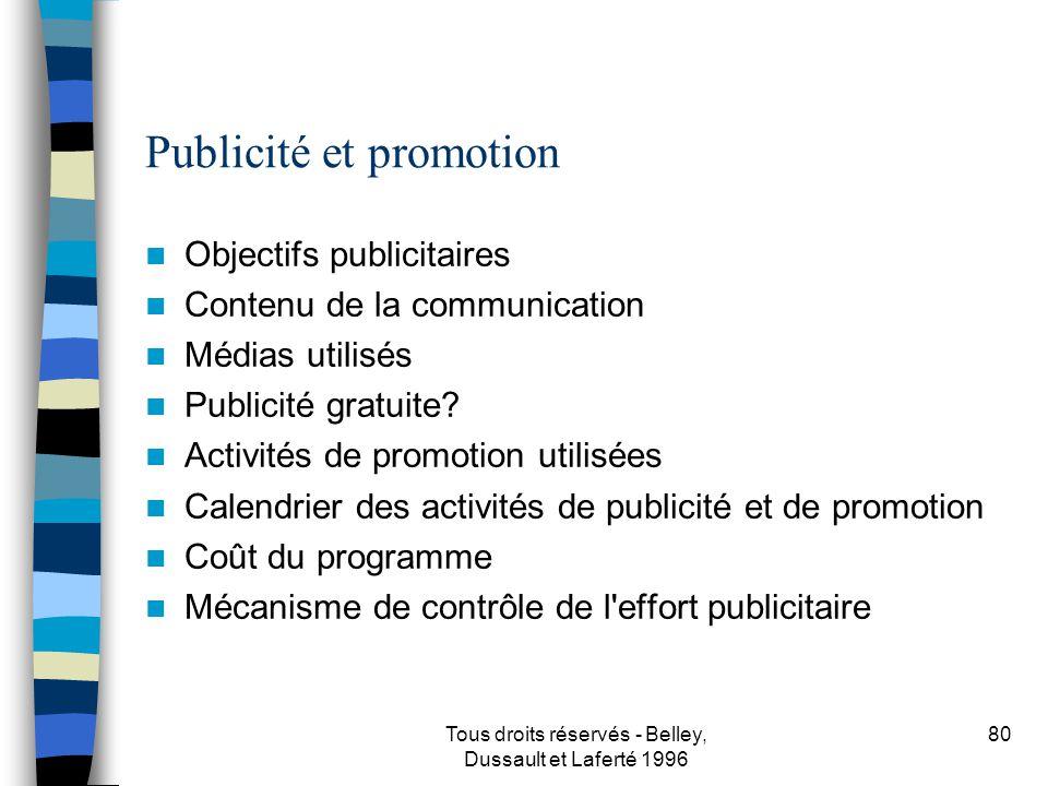 Tous droits réservés - Belley, Dussault et Laferté 1996 81 Stratégie de distribution Où et comment la clientèle retrouvera-t-elle votre produit ou votre service.