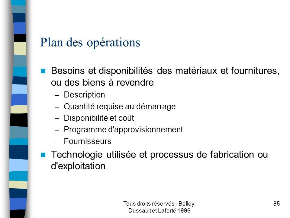 Tous droits réservés - Belley, Dussault et Laferté 1996 86 Plan des opérations...