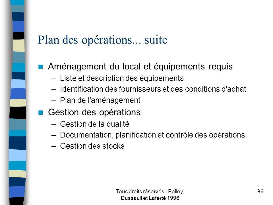 Tous droits réservés - Belley, Dussault et Laferté 1996 87 Plan des opérations...