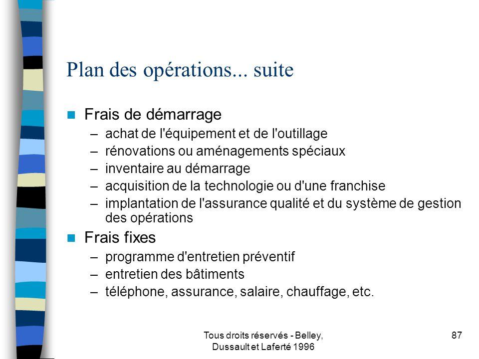 Tous droits réservés - Belley, Dussault et Laferté 1996 88 Plan des opérations...