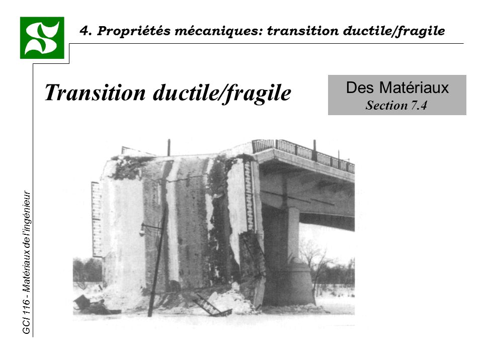 4. Propriétés mécaniques: transition ductile/fragile GCI 116 - Matériaux de lingénieur Des Matériaux Section 7.4 Transition ductile/fragile