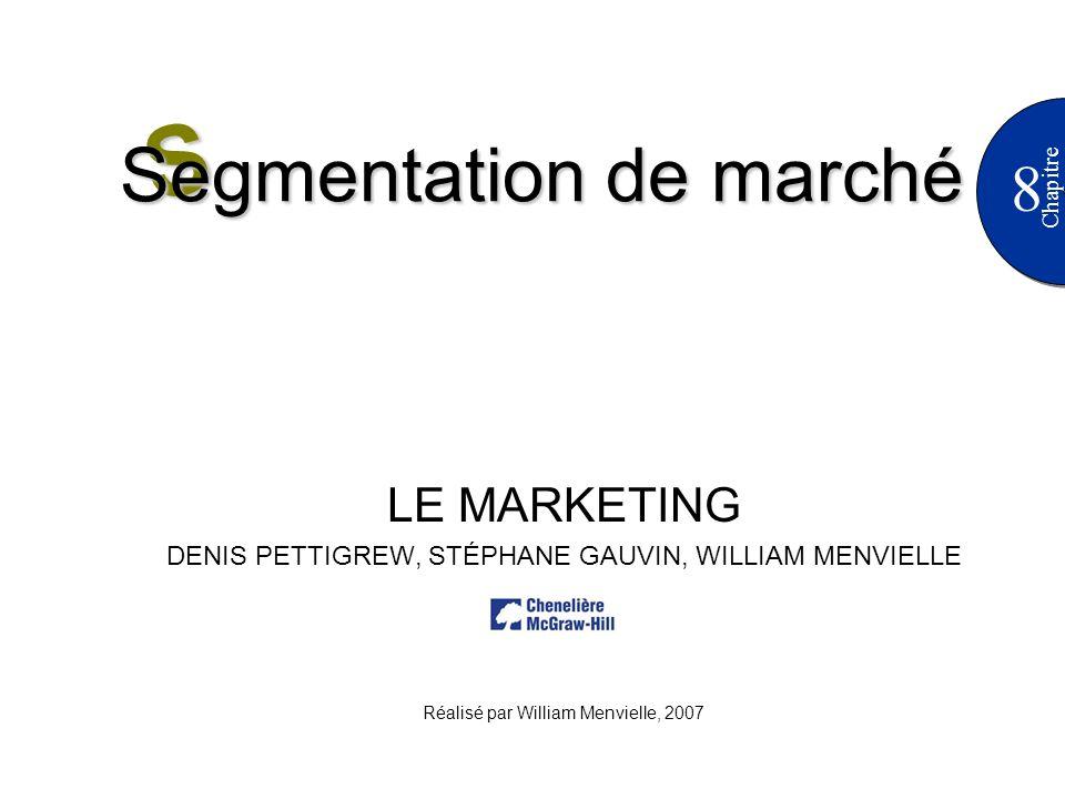 8 Chapitre LE MARKETING DENIS PETTIGREW, STÉPHANE GAUVIN, WILLIAM MENVIELLE Réalisé par William Menvielle, 2007 S Segmentation de marché