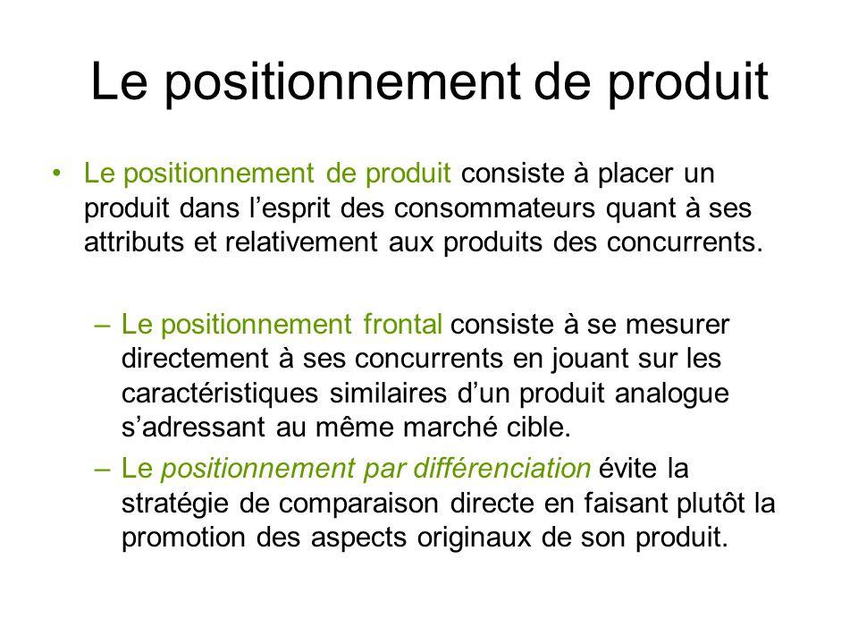 Le positionnement de produit Le positionnement de produit consiste à placer un produit dans lesprit des consommateurs quant à ses attributs et relativ