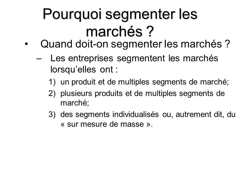 7 Pourquoi segmenter les marchés ? Quand doit-on segmenter les marchés ? –Les entreprises segmentent les marchés lorsquelles ont : 1)un produit et de