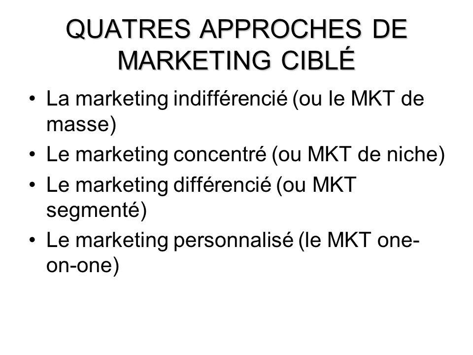 8 QUATRES APPROCHES DE MARKETING CIBLÉ La marketing indifférencié (ou le MKT de masse) Le marketing concentré (ou MKT de niche) Le marketing différenc
