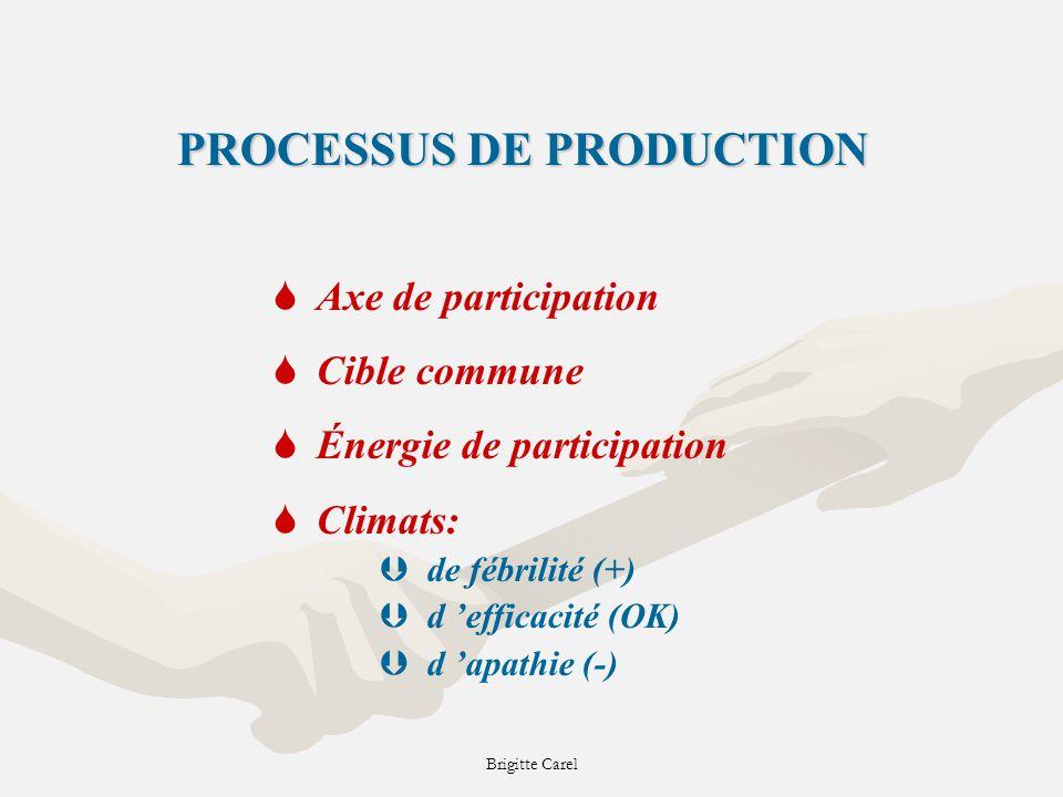 PROCESSUS DE PRODUCTION SAxe de participation SCible commune SÉnergie de participation SClimats: Þde fébrilité (+) Þd efficacité (OK) Þd apathie (-)