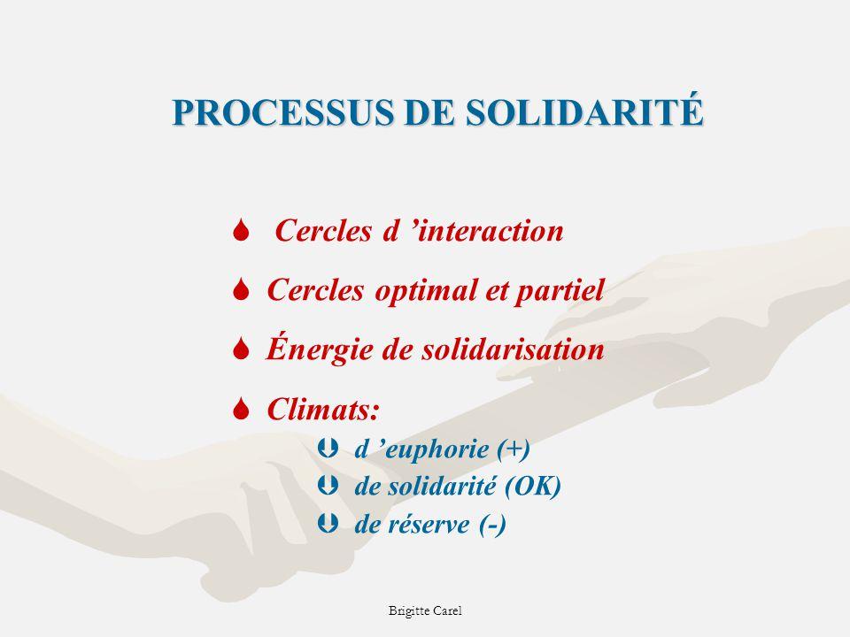 PROCESSUS DE SOLIDARITÉ S Cercles d interaction SCercles optimal et partiel SÉnergie de solidarisation SClimats: Þd euphorie (+) Þde solidarité (OK) Þde réserve (-)