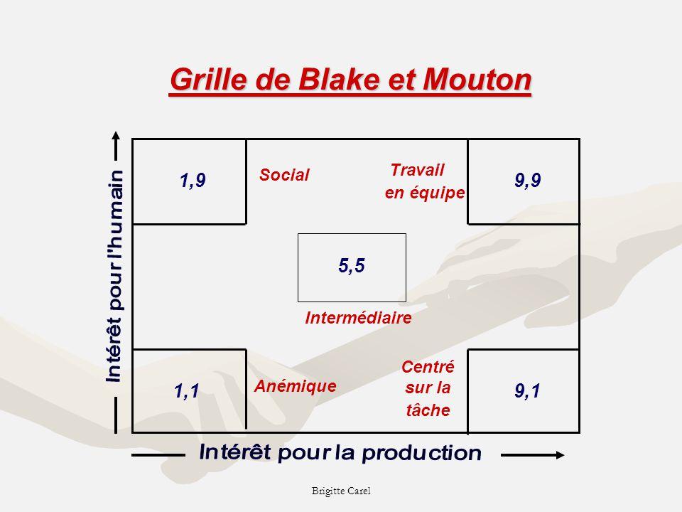 Brigitte Carel Intermédiaire Grille de Blake et Mouton 5,5 1,9 1,1 9,9 9,1 Anémique Centré sur la tâche Travail en équipe Social