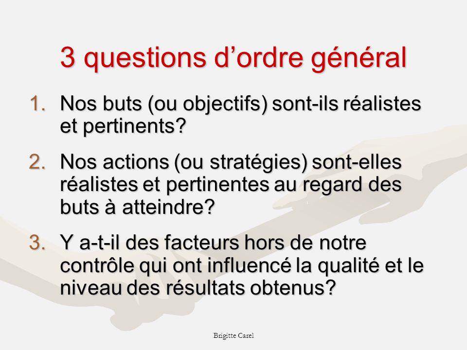 Brigitte Carel 3 questions dordre général 1.Nos buts (ou objectifs) sont-ils réalistes et pertinents.