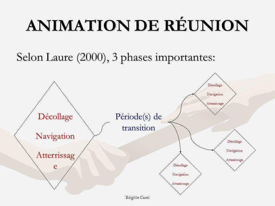 Brigitte Carel ANIMATION DE RÉUNION Selon Laure (2000), 3 phases importantes: DécollageNavigation Atterrissag e DécollageNavigationAtterrissage Période(s) de transition DécollageNavigationAtterrissage DécollageNavigationAtterrissage