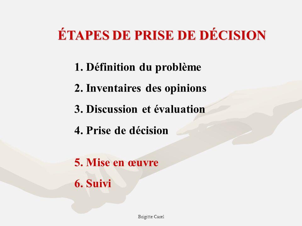 Brigitte Carel ÉTAPES DE PRISE DE DÉCISION 1.Définition du problème 2.