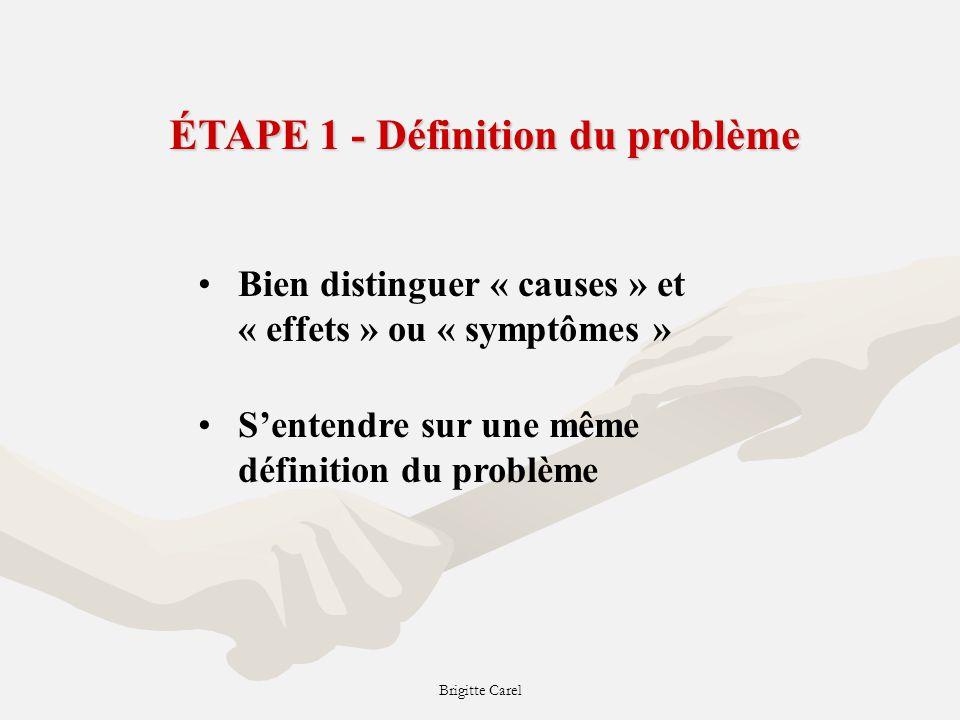 Brigitte Carel ÉTAPE 1 - Définition du problème Bien distinguer « causes » et « effets » ou « symptômes » Sentendre sur une même définition du problème