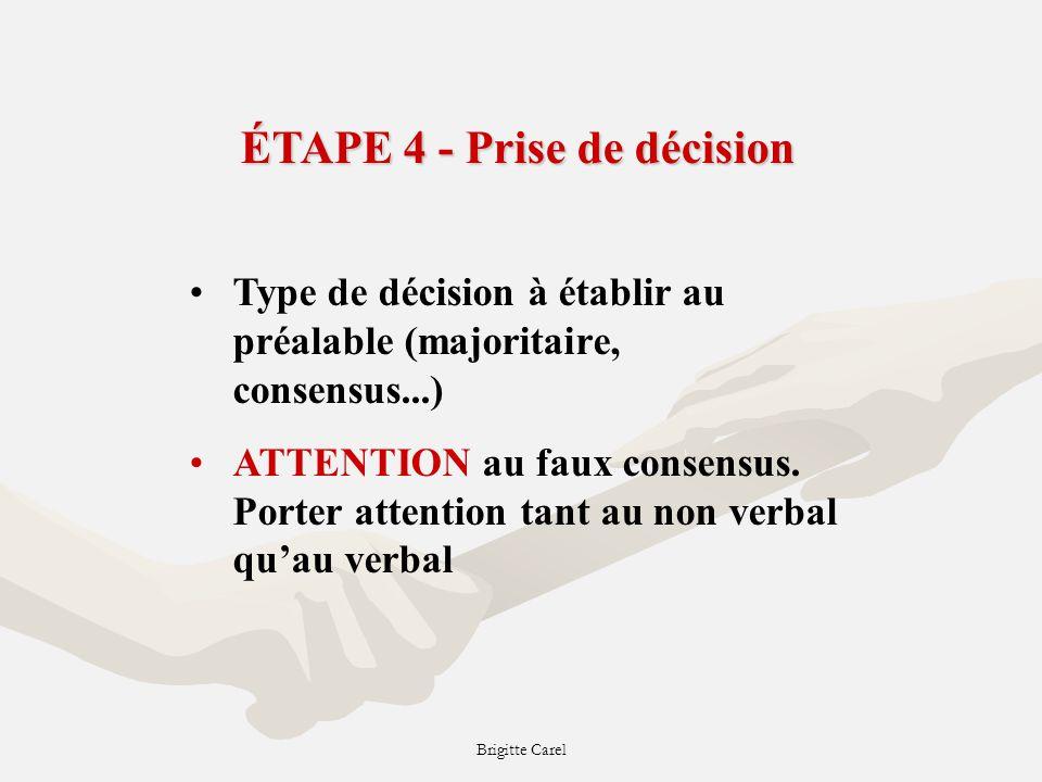 Brigitte Carel ÉTAPE 4 - Prise de décision Type de décision à établir au préalable (majoritaire, consensus...) ATTENTION au faux consensus.