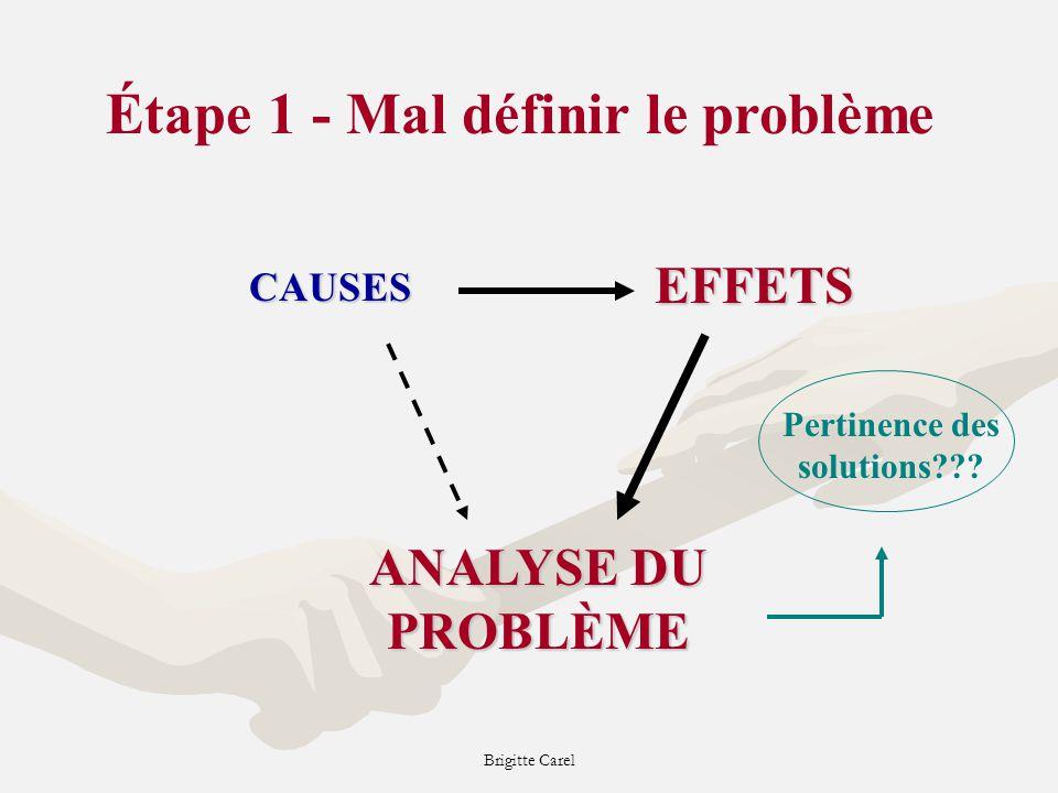 Brigitte Carel CAUSES EFFETS ANALYSE DU PROBLÈME Étape 1 - Mal définir le problème Pertinence des solutions???