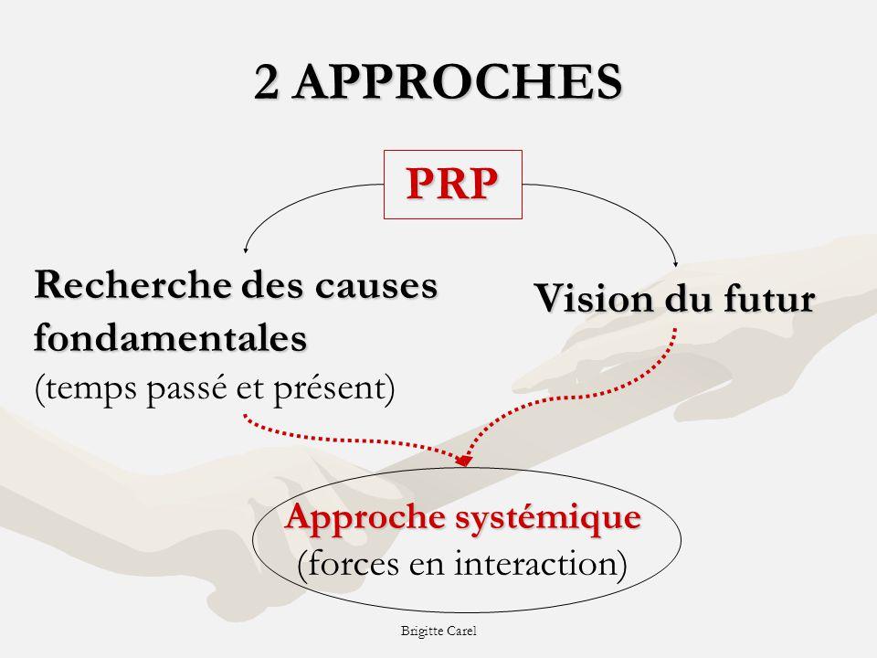 Brigitte Carel 2 APPROCHES PRP Recherche des causes fondamentales Recherche des causes fondamentales (temps passé et présent) Vision du futur Approche systémique Approche systémique (forces en interaction)