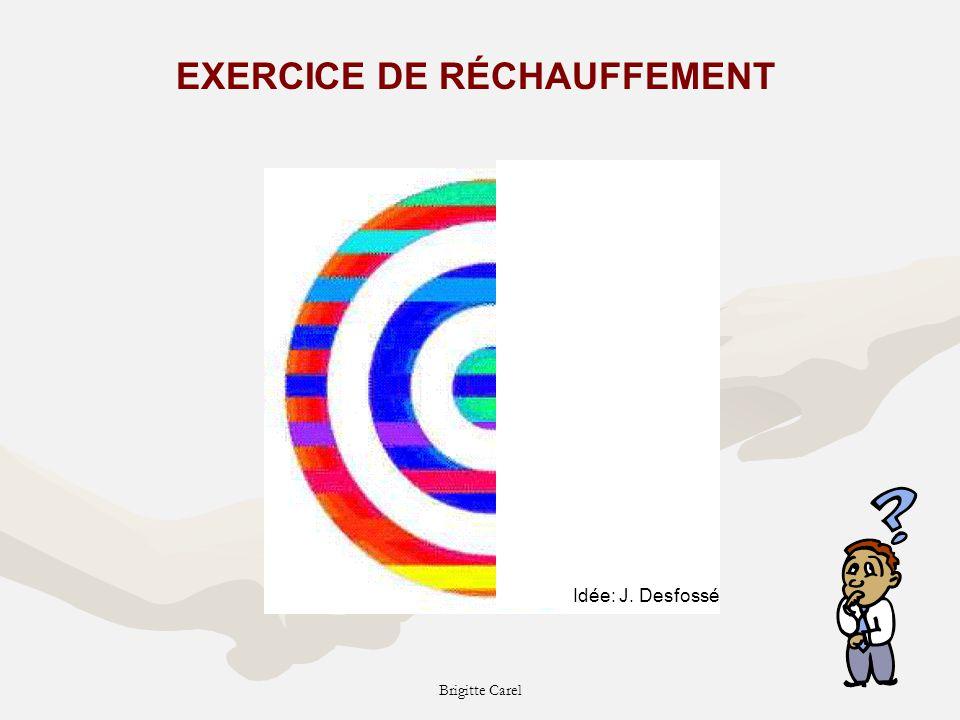 Brigitte Carel EXERCICE DE RÉCHAUFFEMENT Idée: J. Desfossé