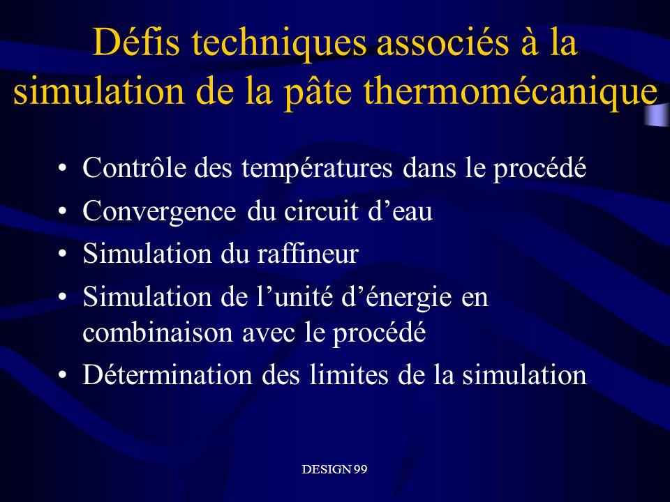 DESIGN 99 Défis techniques associés à la simulation de la pâte thermomécanique Contrôle des températures dans le procédé Convergence du circuit deau Simulation du raffineur Simulation de lunité dénergie en combinaison avec le procédé Détermination des limites de la simulation