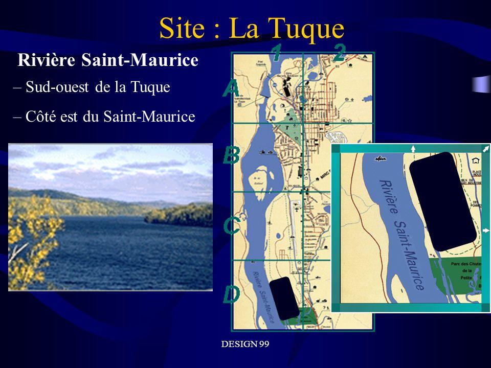 DESIGN 99 Site : La Tuque Rivière Saint-Maurice – Sud-ouest de la Tuque – Côté est du Saint-Maurice