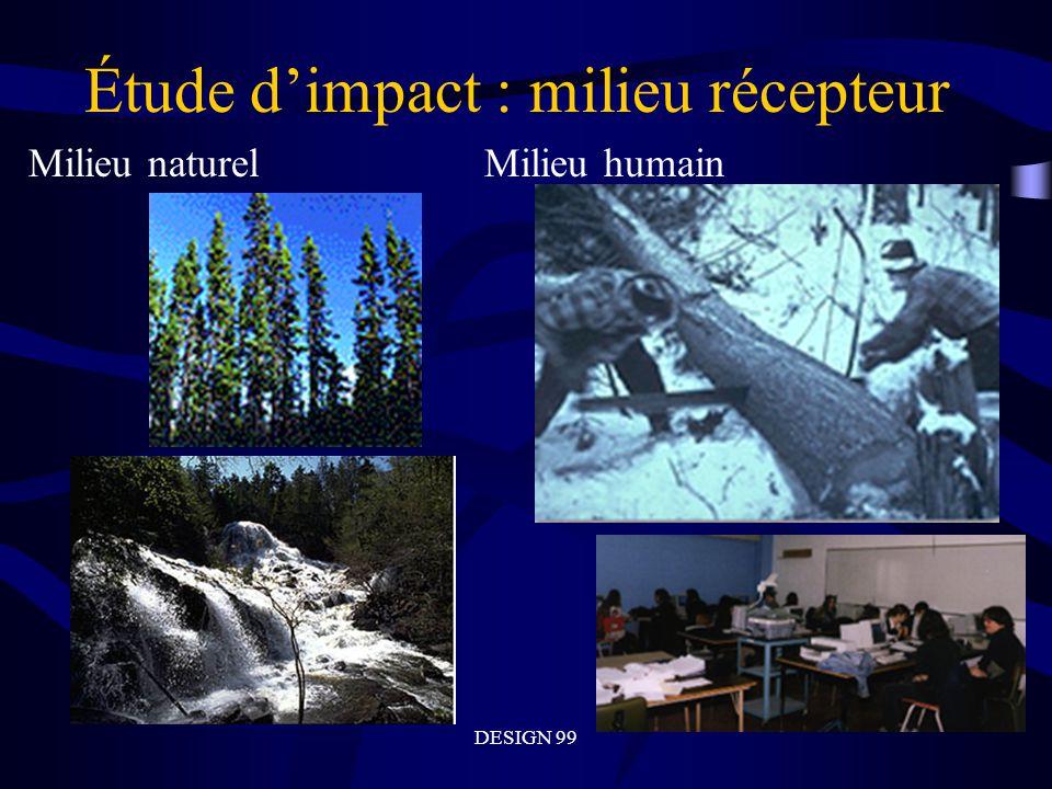 DESIGN 99 Étude dimpact : milieu récepteur Milieu naturelMilieu humain