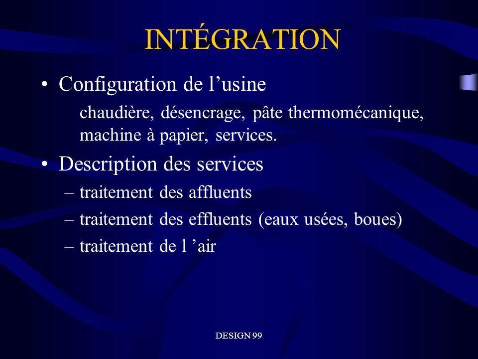 DESIGN 99 INTÉGRATION Configuration de lusine chaudière, désencrage, pâte thermomécanique, machine à papier, services.