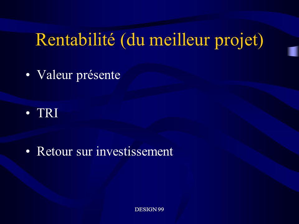 DESIGN 99 Rentabilité (du meilleur projet) Valeur présente TRI Retour sur investissement