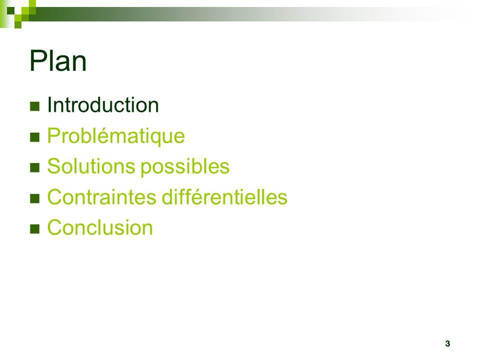 44 Plan Introduction Problématique Solutions possibles Contraintes différentielles Conclusion