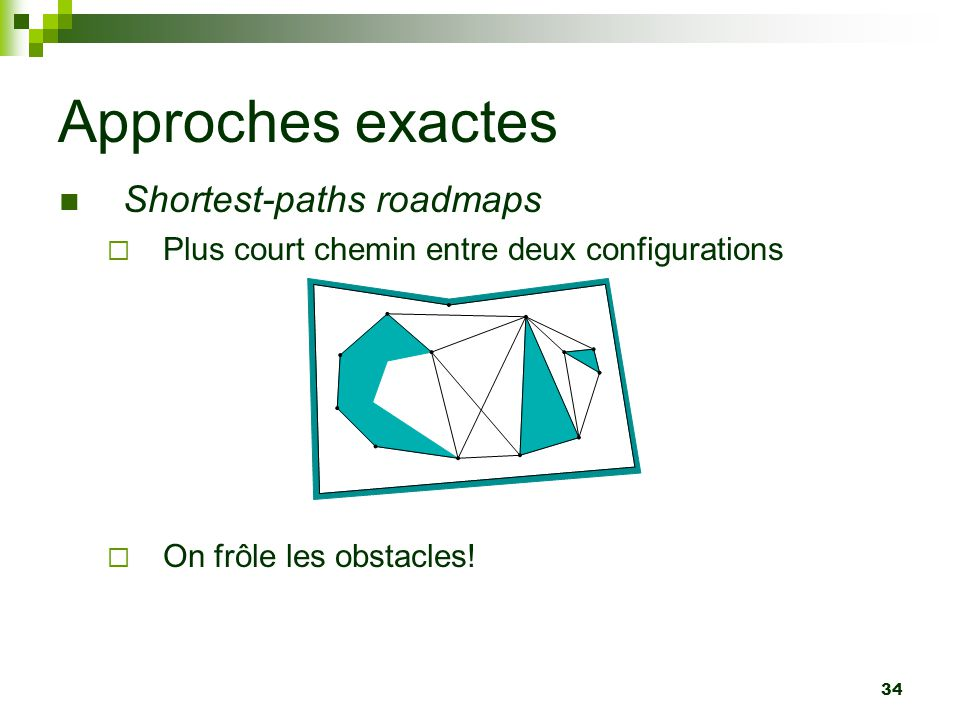 34 Approches exactes Shortest-paths roadmaps Plus court chemin entre deux configurations On frôle les obstacles!