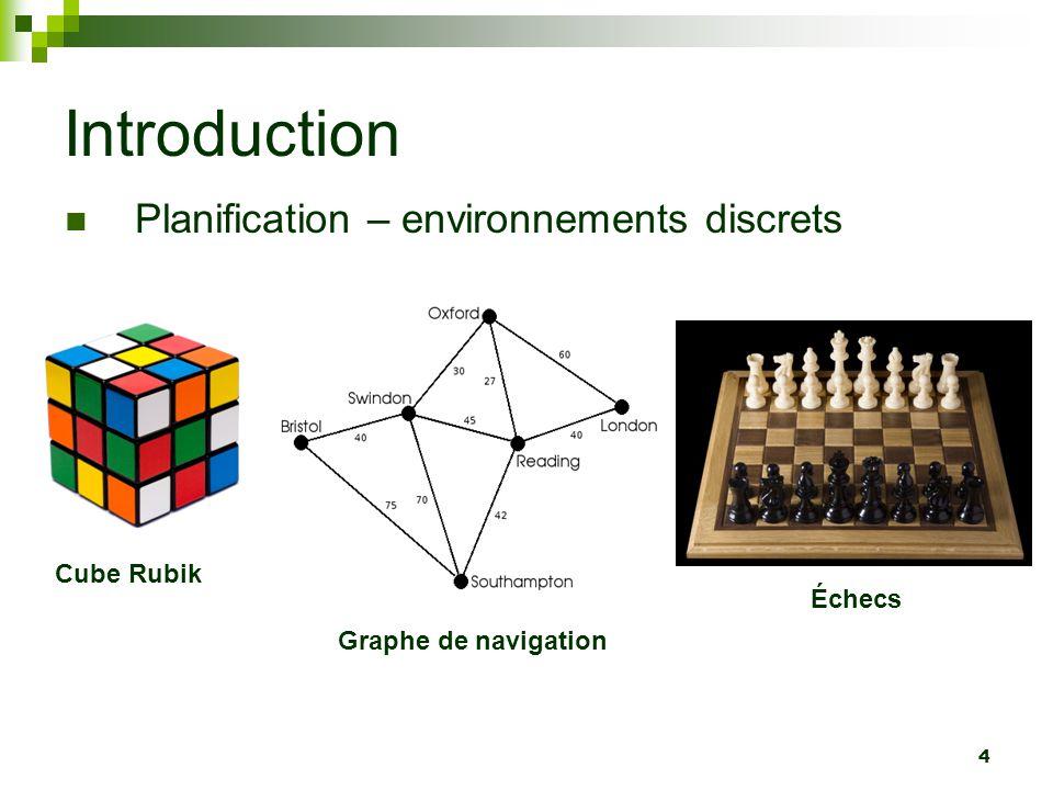 5 Introduction Planification – environnements discrets Nombre fini dactions possibles Exploration dun graphe détats État initial But à atteindre
