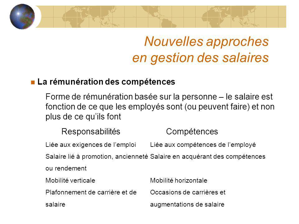 Nouvelles approches en gestion des salaires n La rémunération des compétences Forme de rémunération basée sur la personne – le salaire est fonction de