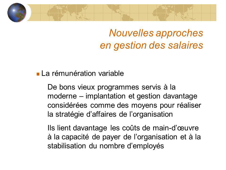 Nouvelles approches en gestion des salaires n La rémunération variable De bons vieux programmes servis à la moderne – implantation et gestion davantag