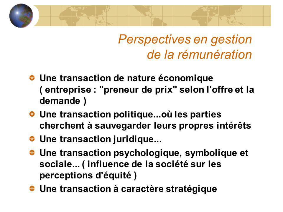 Perspectives en gestion de la rémunération Une transaction de nature économique ( entreprise :