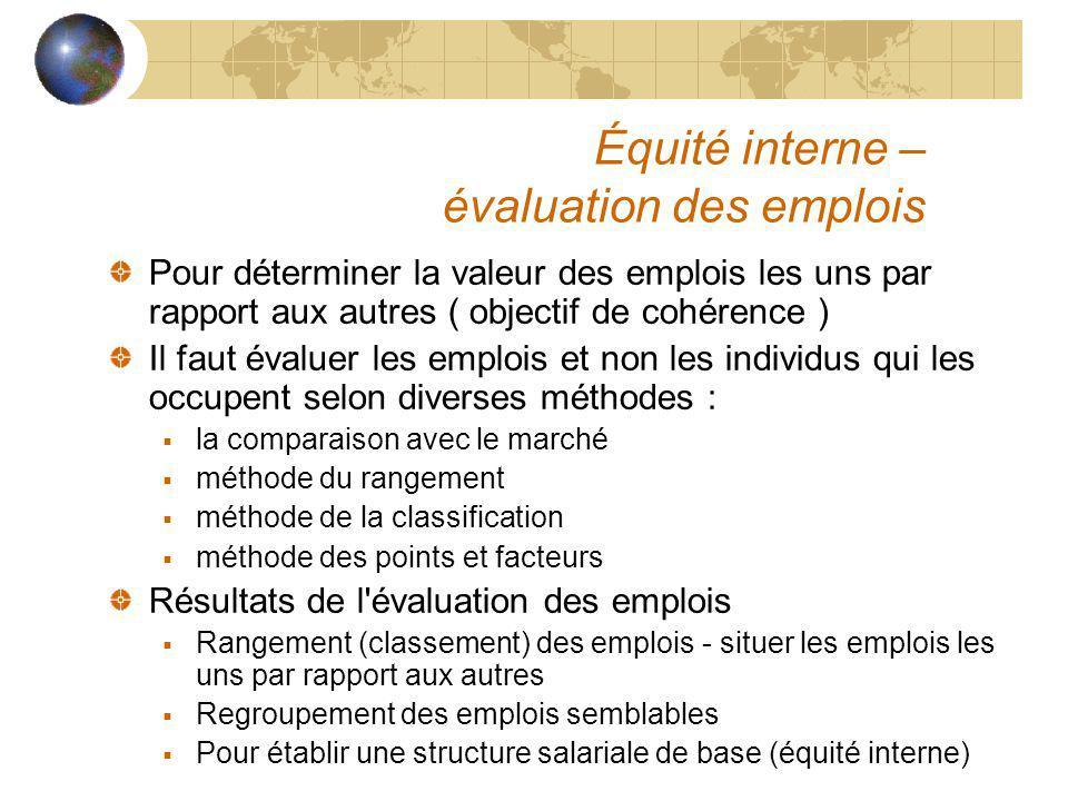 Équité interne – évaluation des emplois Pour déterminer la valeur des emplois les uns par rapport aux autres ( objectif de cohérence ) Il faut évaluer