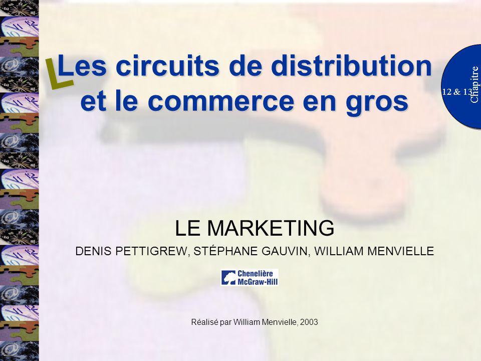 Les circuits de distribution et le commerce en gros 12 & 13 Chapitre LE MARKETING DENIS PETTIGREW, STÉPHANE GAUVIN, WILLIAM MENVIELLE Réalisé par Will